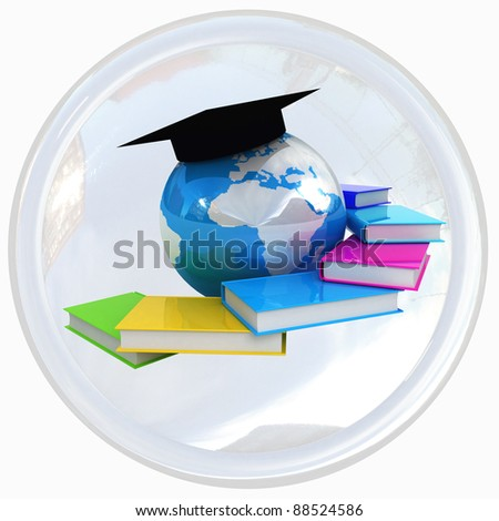 Global education shiny white button