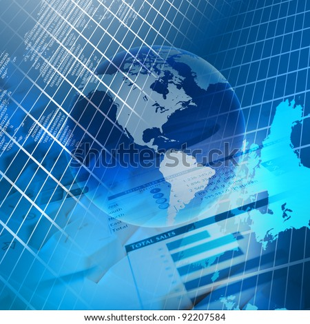 Global financial color charts and graphs illustration - stock photo
