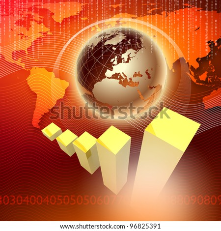 Global financial color charts and graphs illustration
