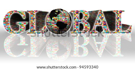 global flags word and earth globe on white background