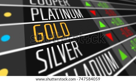 Global gold price on the stock market as financial 3D illustration concept.