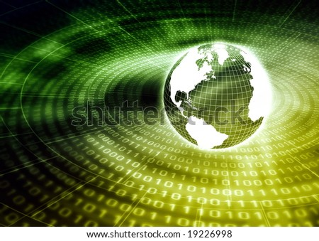 Global Information (internet) illustrated with a globe surrounded with binary numbers