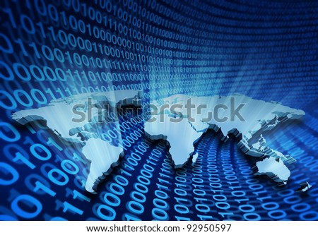 Global internet business and e-learning with shining 3D Wold Map of USA Europe Africa the Americas and Asia for international global communications and network business with digital binary code.
