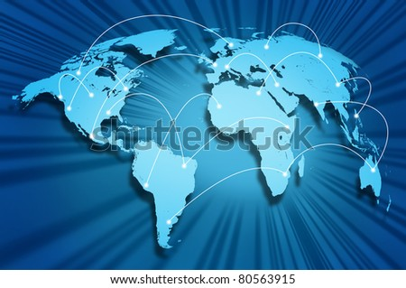 Global internet connections around the world connecting social media sites and web portals from international technology providers and communication hubs.