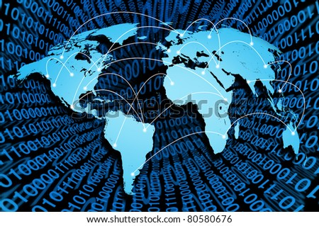 Global internet with digital connections from around the world representing the concept of network communication.