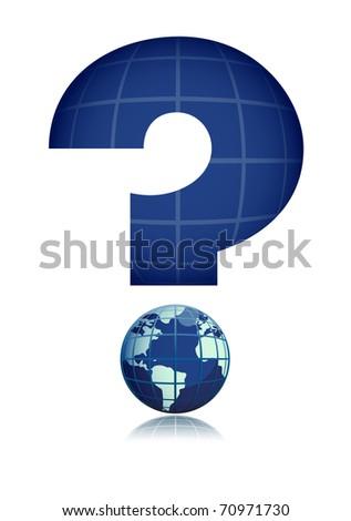 Global interrogation  illustration isolated over a white background