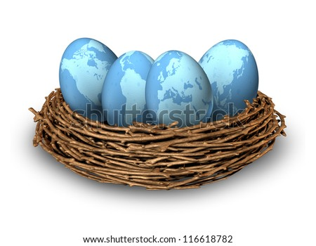 Global investments and international finance business symbol with four blue eggs with maps of the world in a nest as a concept of savings in regions as Asia North America Europe and Latin America.