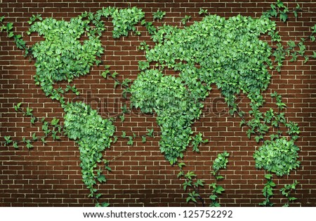 Global leaf map in the shape of growing green vine plant on a red brick wall as a world concept of network connections with the Americas Europe Africa Asia and Australia attached with branches.
