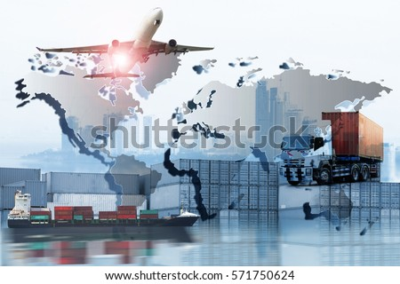 Global logistics network  concept, Air cargo trucking rail transportation maritime shipping On-time delivery