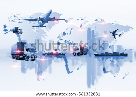 Global logistics network Web site concept, Air cargo trucking rail transportation maritime shipping On-time delivery