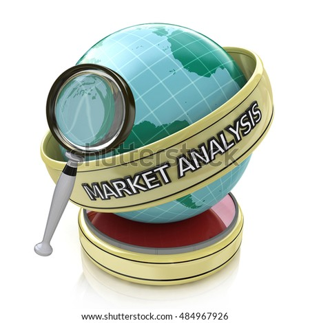 Global market analysis: Market trends in the design of information related to business. 3d illustration