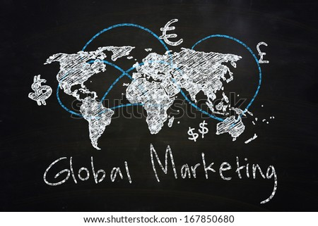 global marketing concept drawn with chalk on blackboard