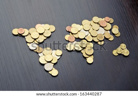 Global money map. World map made of money coins