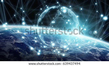 Global network and datas exchanges over the planet Earth 3D rendering elements of this image furnished by NASA