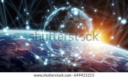 Global network and datas exchanges over the planet Earth 3D rendering elements of this image furnished by NASA #649415215