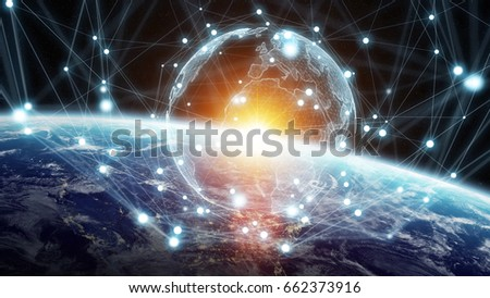 Global network and datas exchanges over the planet Earth 3D rendering elements of this image furnished by NASA #662373916