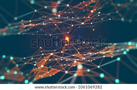 Global network. Blockchain. 3D illustration. Neural networks and artificial intelligence. Abstract technological background with binary code elements