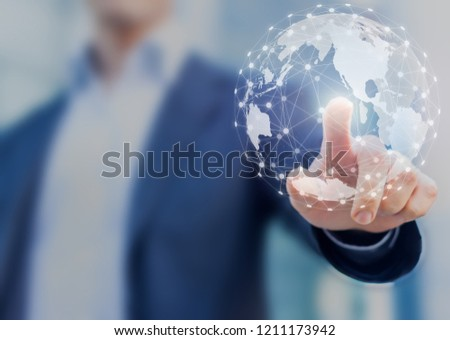 Global network communication with international connections for business around 3d world map, financial exchange, Internet of Things (IoT), blockchain technology, worldwide forex, abstract concept #1211173942