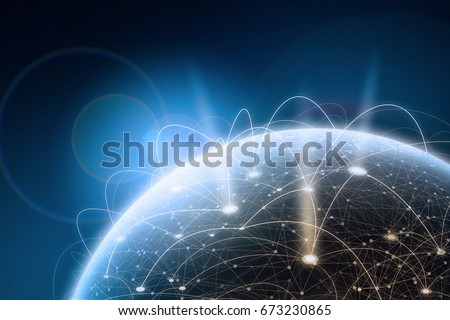 Global network concept. 3D rendering elements