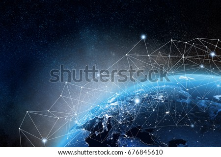 Global network concept. 3D rendering elements of this image furnished by NASA #676845610