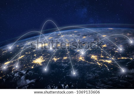 global network concept, information technology and telecommunication, planet Earth from space, business communication worldwide, original image furnished by NASA #1069133606