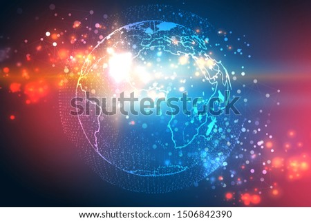 Global network concept. Network with nodes connected