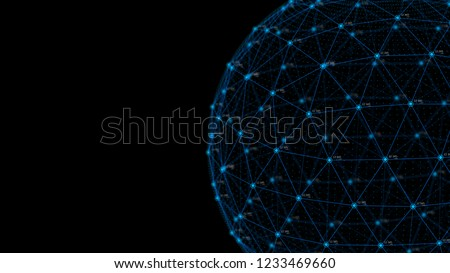 Global network concept. Technology background. Internet connection. Science. 4k rendering.