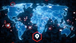 Global network concept. World map. Business strategy. GUI (Graphical User Interface).