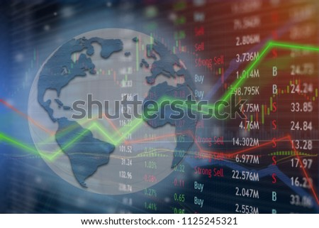 Global network connected for internet investing and trading online.  Worldwide markets signs and symbols.  Monitoring uptrend and growth. #1125245321