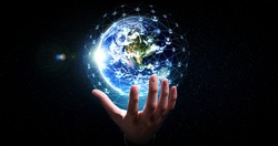 Global network connection covering earth with link of innovative perception . Concept of international trading and digital investment, 5G global wireless connection and future of internet of things .