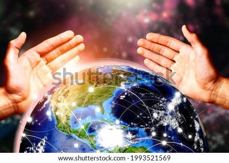 Global network connection covering the earth with link of innovative perception and human hands