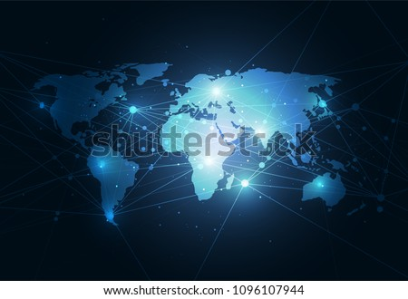 Global network connection. World map point and line composition concept of global business. Vector Illustration - Shutterstock ID 1096107944