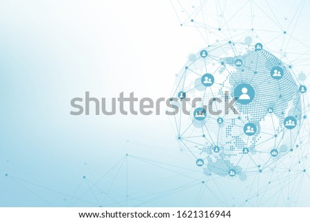 Global network connections with points and lines. Wireframe background. Abstract connection structure. Polygonal space background, illustration.