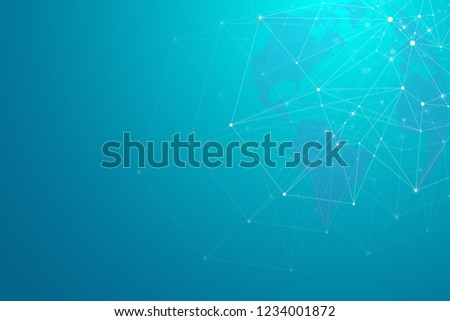 Global network connections with world map. Internet connection background. Abstract connection structure. Polygonal space background, illustration