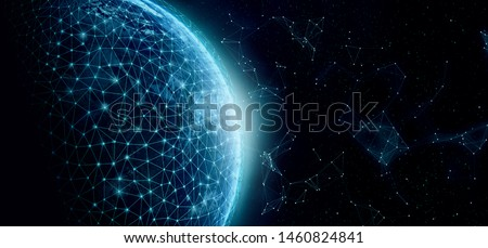 Global network for the exchange of data on the planet Earth. Blue black ground. Elements of this image furnished by NASA.