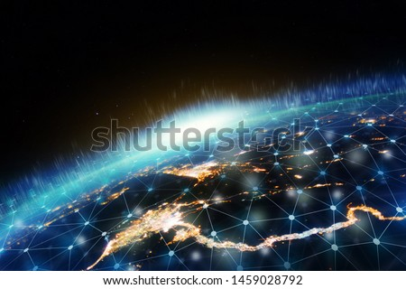 Global network for the exchange of data on the planet Earth.  Elements of this image furnished by NASA.