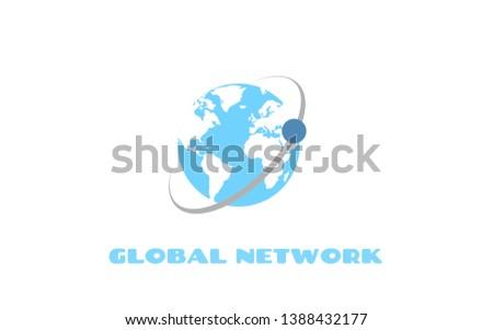 Global Network icon. Communication technology signal background icon.
