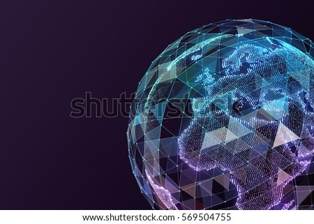 Global network internet technologies. Digital world map.