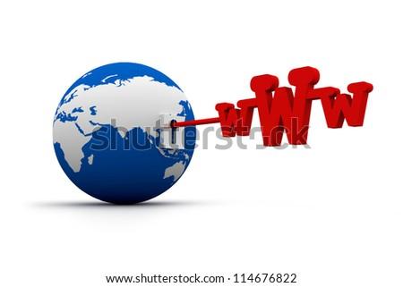 Global network the Internet. www key and world