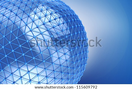 global networking connection, 3d image - stock photo