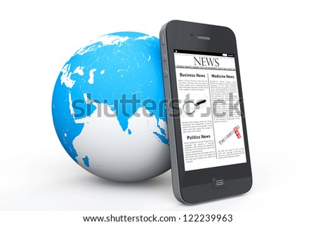Global News Concept. News on Mobile Phone with Earth on a white background