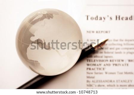 global news. newspaper and globe