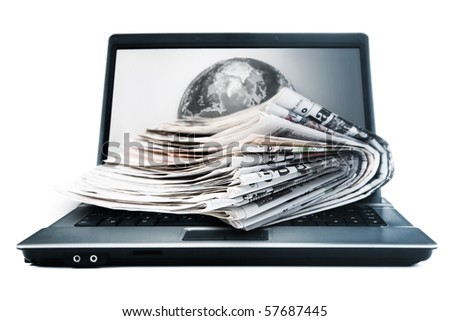 Global online newspapers - stock photo