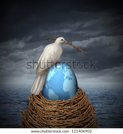 Global Peace and hope for no war in the middle east and the rest of the planet with a white dove building a nest with twigs and a fragile egg with the map of the world on a cloudy sky and ocean.