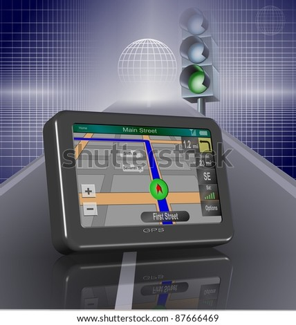 Global positioning system on a road and a traffic light turned green in the background / GPS and road