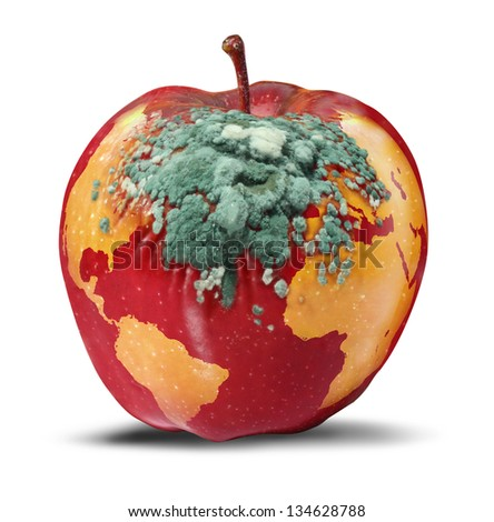 Global problems and environmental Issues concerning the health of the planet earth as a decaying red apple as a map of the world rotting with fungus as a concept of political and conservation crisis.