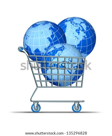 Global purchase and international investing with three world spheres in a shopping cart representing Asia North America Europe Africa and parts of south America as financial concept.