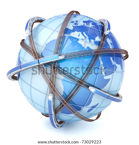 Global railway network - stock photo