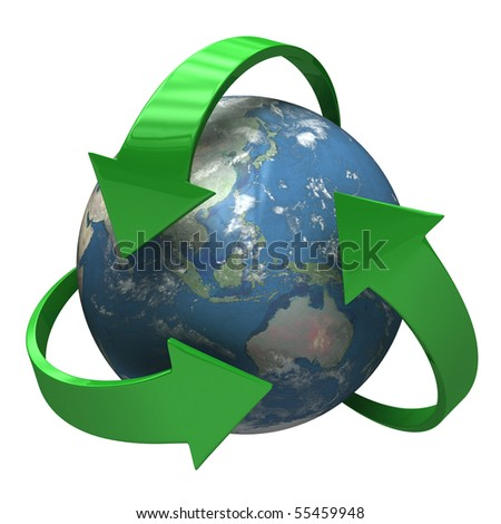 Global Recycle - 3D symbol [isolated on white background] - stock photo
