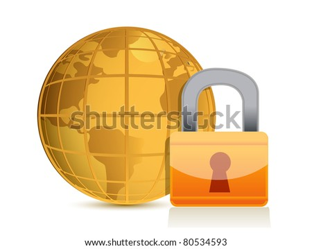 Global security concept illustration design isolated over a white background